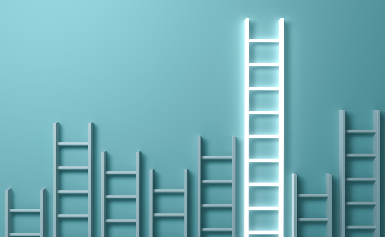 Stand out from the crowd and different creative idea concepts , Longest ladder glowing among other short ladders on light green background with shadows . 3D rendering. (Stand out from the crowd and different creative idea concepts , Longest ladder glo